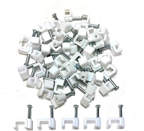 TR Kabelhalter, Weiß, aus Kunststoff, flach, Klammern für elektrische Kabel von TV, Telefon, Internet, Kabel-Befestigungen, 50Stück