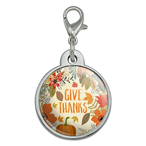 GRAPHICS & MORE Give Thanks Thanksgiving Pumpkins Chrome Plated Metal Pet Dog Cat ID Tag