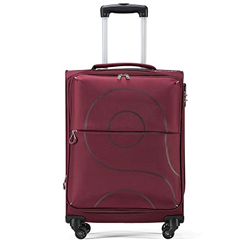 Expandable Suitcase Travel Large-Capacity Waterproof Universal Wheel Zipper Suitcase (Color : Red)