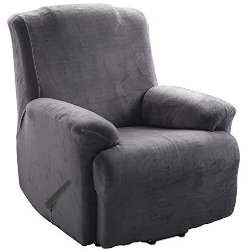 TIANSHU Samt Ruhesessel bezüge,Soft Velvet Plush Couchbezug stilvolle Luxus-Möbelbezüge Anti-Rutsch-High Stretch Relaxsessel bezüge(Ruhesessel,Grau)