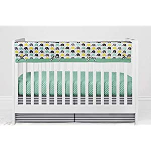 Bacati – Elephants Unisex Reversible Long Padded Baby Crib Rail Cover Protector Safe Guard Wrap for Long Front Crib Rail, 100% Cotton with Polyester filling (Large, Mint/Yellow/Grey)