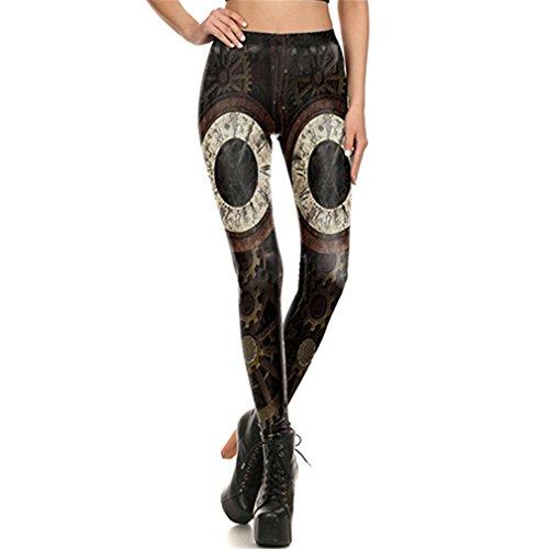 Dangyin Diseño de Moda Leggings Mujer Steampunk Gear Leggin Impresión 3D Retro...