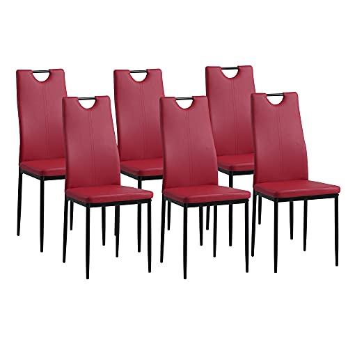 Albatros 2918 Salerno Set de 6 sillas de Comedor, Rojo