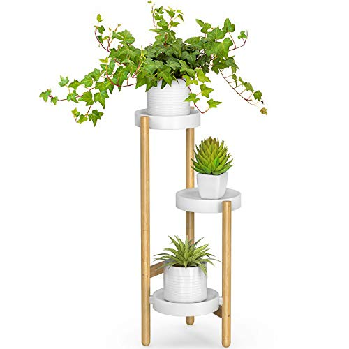 Bamboo Plant Stands Indoor, 3 Tier Tall Corner Plant Stand Holder & Plant Display Rack for Outdoor Garden (3 Tier -1)