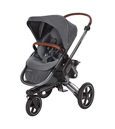 Maxi-Cosi Nova 3-Rad Kombi-Kinderwagen, automatisch klappbar, nutzbar ab der Geburt mit Babyschale oder Babywanne Oria bis circa 3,5 Jahre, sparkling grey
