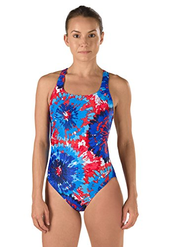 Speedo 7719639 Womens Burst Drop Back Powerflex Eco One Piece Swimsuit, Navy/Red/White (410 - 395) - 26