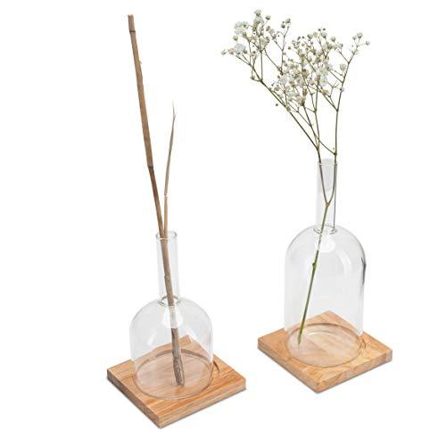 LUUK LIFESTYLE Flaschen Vase Set, Vase Deko Set, Glas Vase für eine Blume, Flaschen Stil, Tischvase, skandinavischens Design, Deko Glas, Vase für langstielige Blumen, Holzuntersetzer,