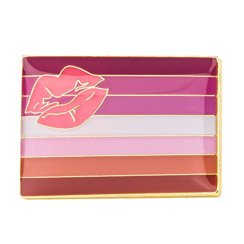 Lippenstift Lesben LGBT Pride Flagge Metall Button Badge Pin Pins Anstecker