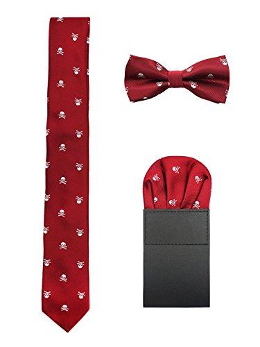 Hombre 6cm Corbata & Pajaritas & Pañuelo de Bolsillo 3 en 1 Set Moda Casual Cool - Calavera Patrón Rojo Bordeaux