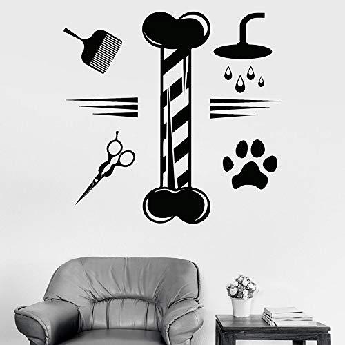 yaonuli Toilettage pour Animaux de Compagnie Stickers muraux Salon de beauté Animale Boutique pour Animaux de Compagnie décoration Autocollants en Vinyle étanche mural63X64cm