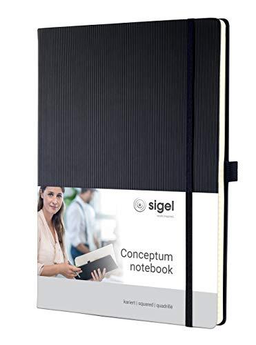 SIGEL CO111 Notizbuch ca. A4, kariert, Hardcover, schwarz, 194 Seiten, Conceptum - weitere Modelle