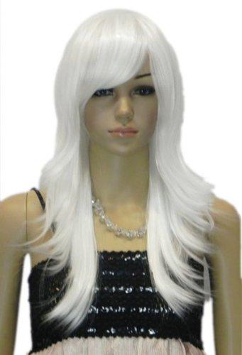 Qiyun Moyen Longue Argent Blanc Raide Layered Resistant a la Chaleur Fibre Synthetique Cheveux Complete Cosplay Anime Costume Perruque