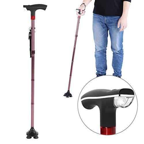 Bastón plegable, guía de bastón con muleta de bastón ciego de aleación de aluminio de cinco secciones con alarma de luz LED para personas mayores y discapacitadas Uso en exteriores