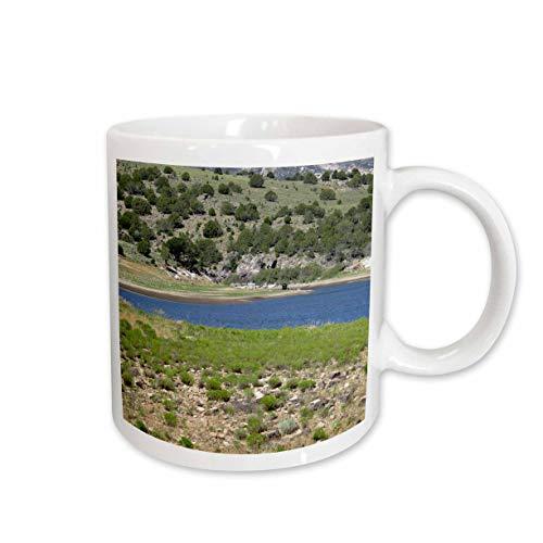 3dRose Jos Fauxtographee- Kolob Lake - A small part of the Kolob Lake in dark blue surrounded by green - 11oz Mug (mug_307535_1)