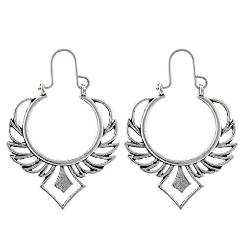 Ruby569y - Pendientes de aro para mujer, diseño geométrico, hueco, estilo bohemio, para mujer, joyería de moda, accesorio de regalo – 9023, plata