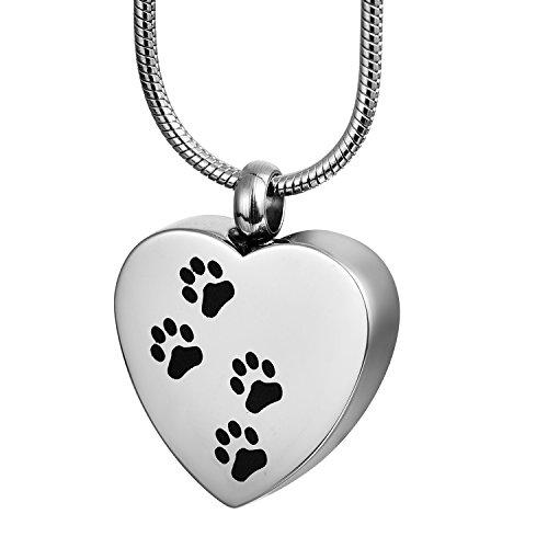 zcbrisk Hund Pfote Katze Pfote Pet Verbrennung Halskette Memorial Urne Ash Anhänger Schmuck mit Gravur