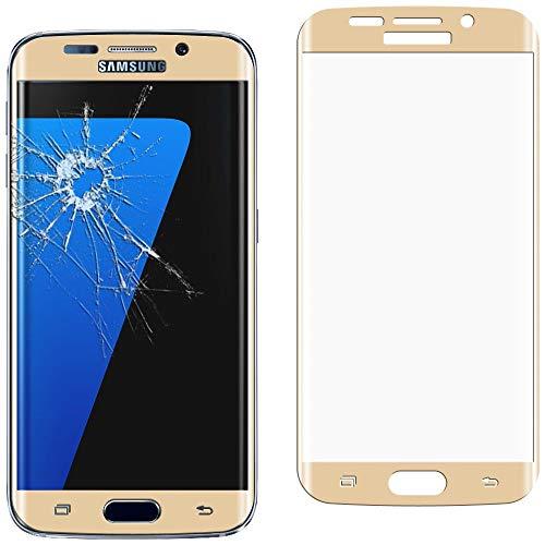 ebestStar - Vetro Temperato Compatibile con Samsung S7 Edge Galaxy SM-G935F G935 Protezione Schermo Integrale Bordi Arrotondati Anti Shock Anti Rottura, Dorato [Apparecchio: 150.9x72.6x7.7mm, 5.5'']