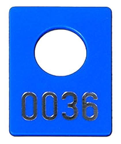 100 Garderobenmarken Kunststoff, Plastik in blau mit Ziffernprägung, div. Nummerkreise wählbar (blau, Nr. 0001-0100)