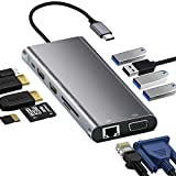 【11-in-1 USB C ハブ MST/SSTモード対応 ディスプレイ3台に出力可能 拡張モード 4K対応 100W出力】 HDMI VGA LAN USB3.0 USB-C急速充電ポート microSD & SDカード Type C ハブ アダプター MacBook/MacBook Pro/Macbook Air/DELL/ASUS/Huawei/Microsoft Surface 等対応