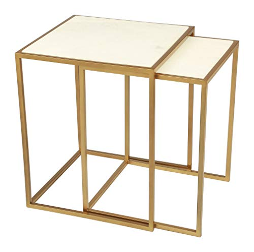 HomeRoots 18' x 18' x 22' Stone & Brass, Marble & Brass, Nesting Tables