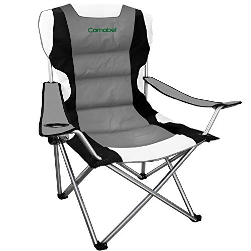 Camabel Folding Camping Chairs Outdoor Lawn Adult Chair Padded Sports Chair Lightweight Fold up Chair High Weight Capacity Bag Chairs for Heavy Duty Beach Hiking Fishing Spectator with Cup Holder Grey