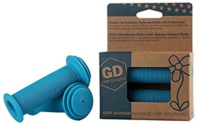 GD Grip Division Kids Bike Grips with Impact Protection for Balance Bikes, Scooters, and Childrens BMX Bicycle Handlebars (Pair) - Blue