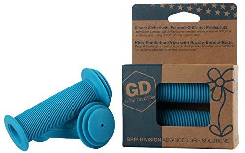 GD Grip Division® Kinder-Sicherheits-Fahrrad-Griffe mit Prallschutz | türkis-blau | Phthalate frei