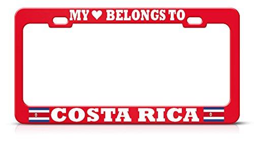 Moon My Heart Belongs to Costa Rica Marco para Placa de vehículo de Color Rojo, Borde de Etiqueta para SUV automático, Hombres y Mujeres, decoración de garadge de Coche