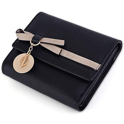 UTO Portafoglio piccolo Foglie d oro di Pelle sintetica per Ragazza Pulsante di blocco e portamonete con cerniera con pendente foglia Nero