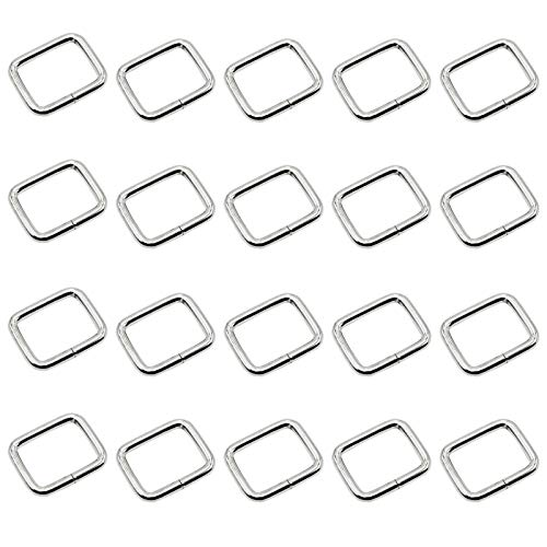 Baven 20 Pcs 25mm Metal Square Buckles Rectangle Ring Bag Strap Connectors Webbing Rings for DIY Accessories Buckle Bag Making Supplies
