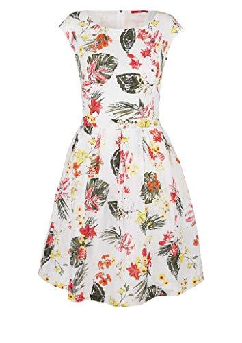 s.Oliver Damen Gemustertes Kleid mit Lochstickerei cream AOP flowers 36