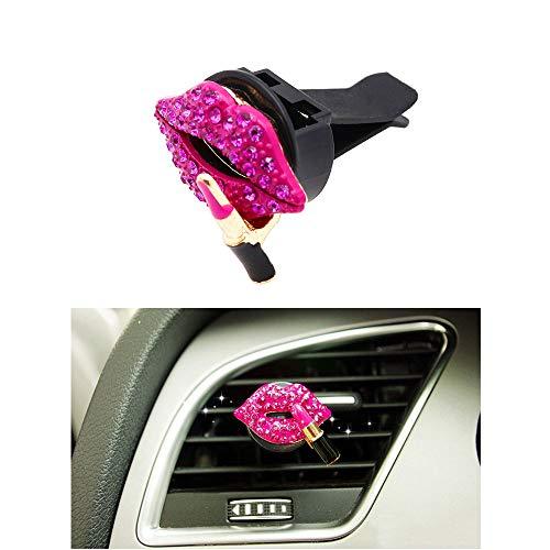 Senauto - Clip de salida de aire acondicionado para coche, diseño de borde rojo con cristales brillantes (rojo rosa)