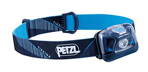 PETZL, TIKKINA Outdoor Headlamp with 250 Lumens for Camping and Hiking, Blue