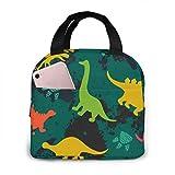ChaojudingH Lonchera con aislamiento de moda, bolsa de refrigerador portátil, bolsa de almuerzo reutilizable para mujeres, adultos, estudiantes y niños - Animal Dinosaur Set Green Camo