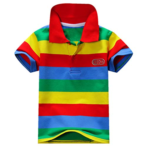 Ugitopi Jungen Baumwolle Kurzarm Gestreiftes Poloshirt Kinder T-Shirt 1-7 Jahre B 12