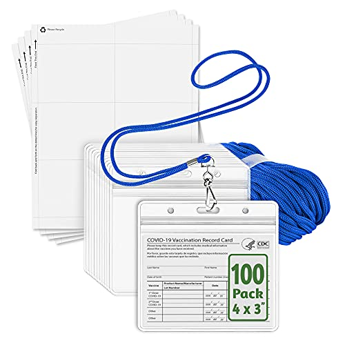 EcoEarth ID Badge Holder with Lanyard and Paper Kit (Blue Lanyards, Clear 4x3 Inch Tag Holders, 100 Pack) 3-Piece Set of Plastic Pouch, Lanyard, and Name Card All-in-One