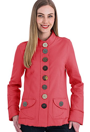 Neon Buddha Women's Cotton Jacket Female Comfortable Blazer with Exposed Seams, Mandarin Neckline and Big Buttons (All You Need is Love Coral, L)