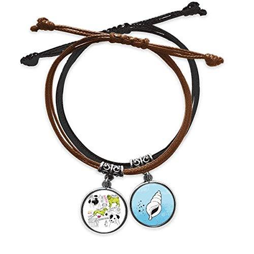 DIYthinker Chien Texte Jouet Illustration schéma Bracelet Corde Main Chaîne Bracelet Cuir Cone
