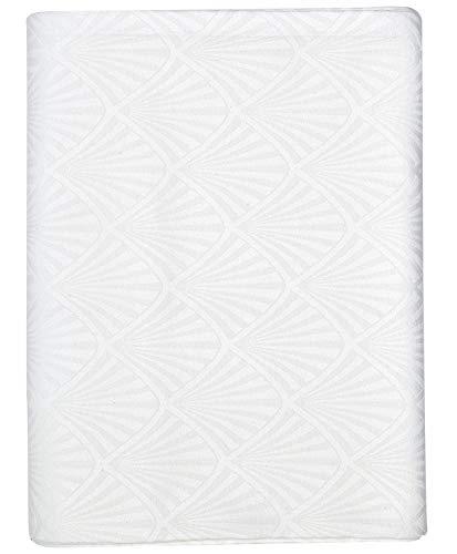 GreenGate Gate Noir - Tischdecke, Tischtuch, Decke - Celine Weiß - 100% Baumwolle - 150 x 350 cm - mit Art Deco Muster