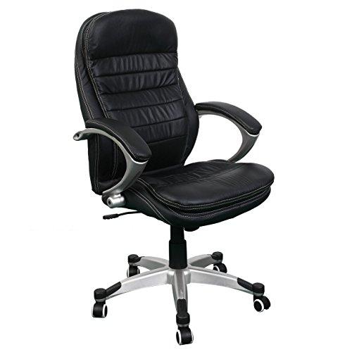 Jet-line Bürostuhl Rom schwarz Büro Drehstuhl Ausstattung Leder höhenverstellbar Rindsleder Black Chef Sessel Homeoffice