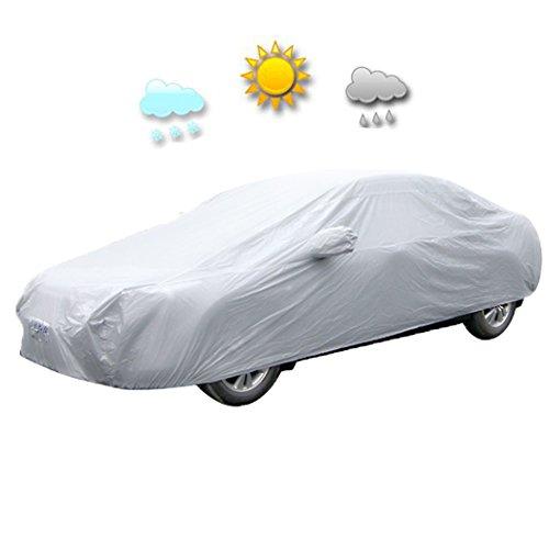 Homdox Auto Abdeckplane PKW Autoabdeckung Auto Hülle Schutzhülle Autoschutzdecke Autohaube inkl. Tragetasche 482 x 177 x 120 cm Silbergrau