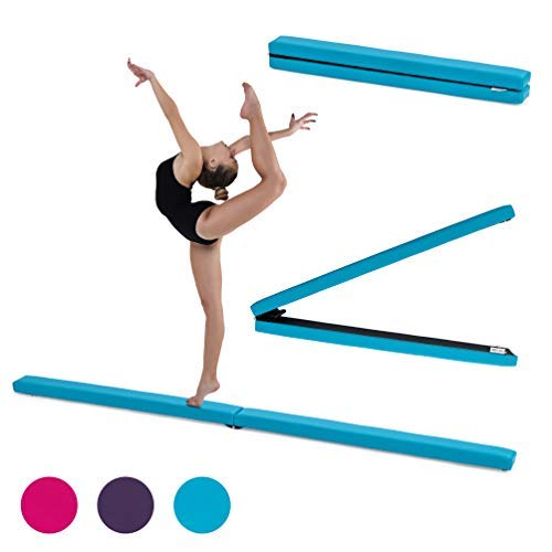 Fun!ture 7ft Klappgymnastik Schwebebalken | Kunstleder | Kinder Fitness Training | Krafttra (Türkis)