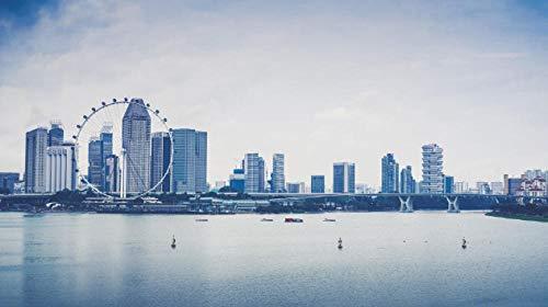NOBRAND para Adultos Adultos Rompecabezas 1000 Piezas Singapur Rascacielos Playa Noria Puzzle DIY Art