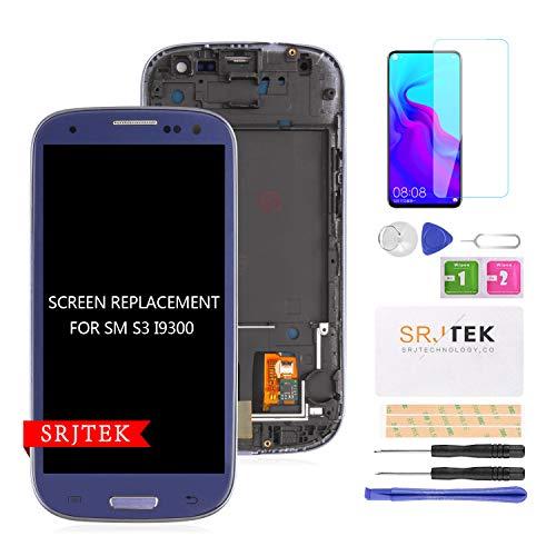 para S3 I9300 Reemplazo De Pantalla LCD Pantalla TFT LCD Pantalla Táctil Conjunto De Digitalizador para Samsung Galaxy S3 2012 I9300 I9305 I9305T Kit De Piezas ?+ Marco? (Azul)
