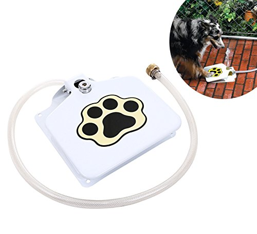 Dog Water Fountain,Pet Drinking Fountain Tarye Automatic Outdoor Dog Water Fountain,Fresh Water Dispenser - Push Pedal Safe for Dogs (White) (White)