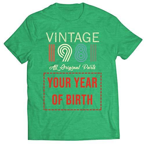 lepni.me Camisetas Hombre Personalizado con Cualquier Año Regalo Vintage Todas Las Piezas Originales (X-Large Brezo Verde Multicolor)