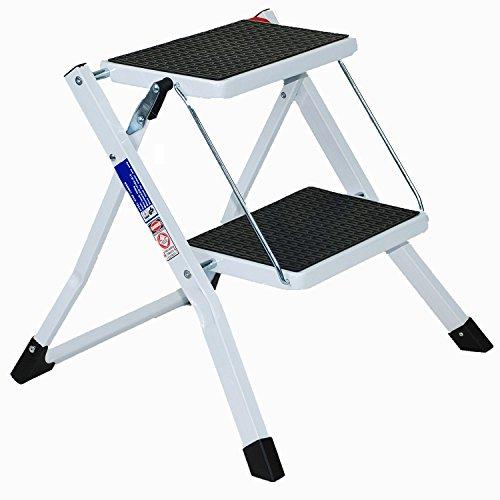Preisvergleich Produktbild CrazyGadget®,  2-stufige Mini-Stufenleiter,  leicht,  sicher,  zusammenklappbar,  mit Antirutsch-Matte,  weiß