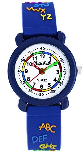 Pacific Time Kinder-Armbanduhr lesen ABC Jungen Mädchen Armbanduhr Analog Quarz blau 20651