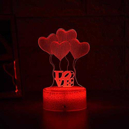 ZGBB Más nuevo niño luz noche 3d LED noche luz creativa mesa mesita lámpara romántico globo amor luz niños decoración regalo 7colornoRemote