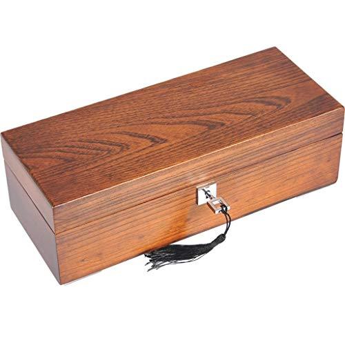Boîte de rangement pour montres en bois pour hommes ou femmes 5 emplacements pour montres avec oreiller souple Poignet verrouillable Grandes montres-bracelets Bijoux Bracelet Display Collections Malle